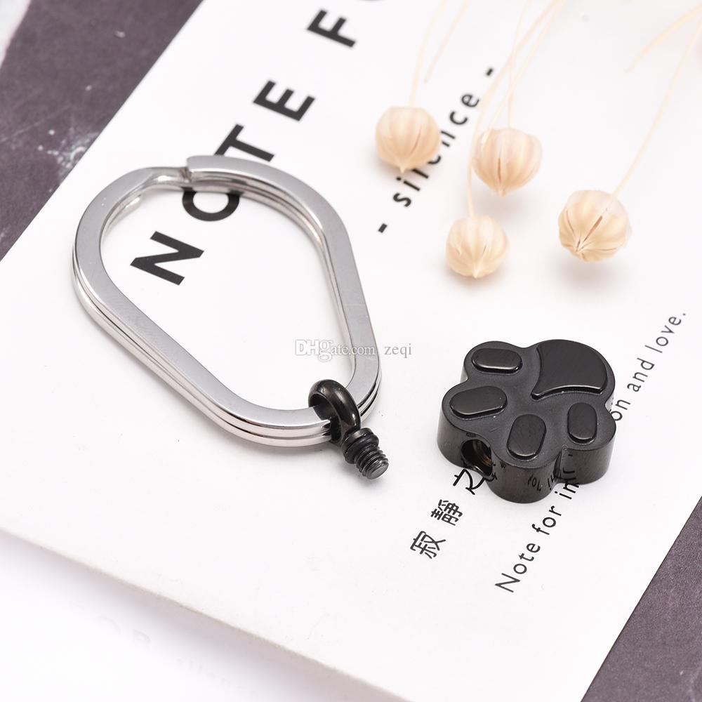 Shiny Polishing Cremation Jewelry with Pet Paw Prints Charm Keepsake Memorial Urn Key Chain For Ashes Key Ring Accessories Fashion Jewelry