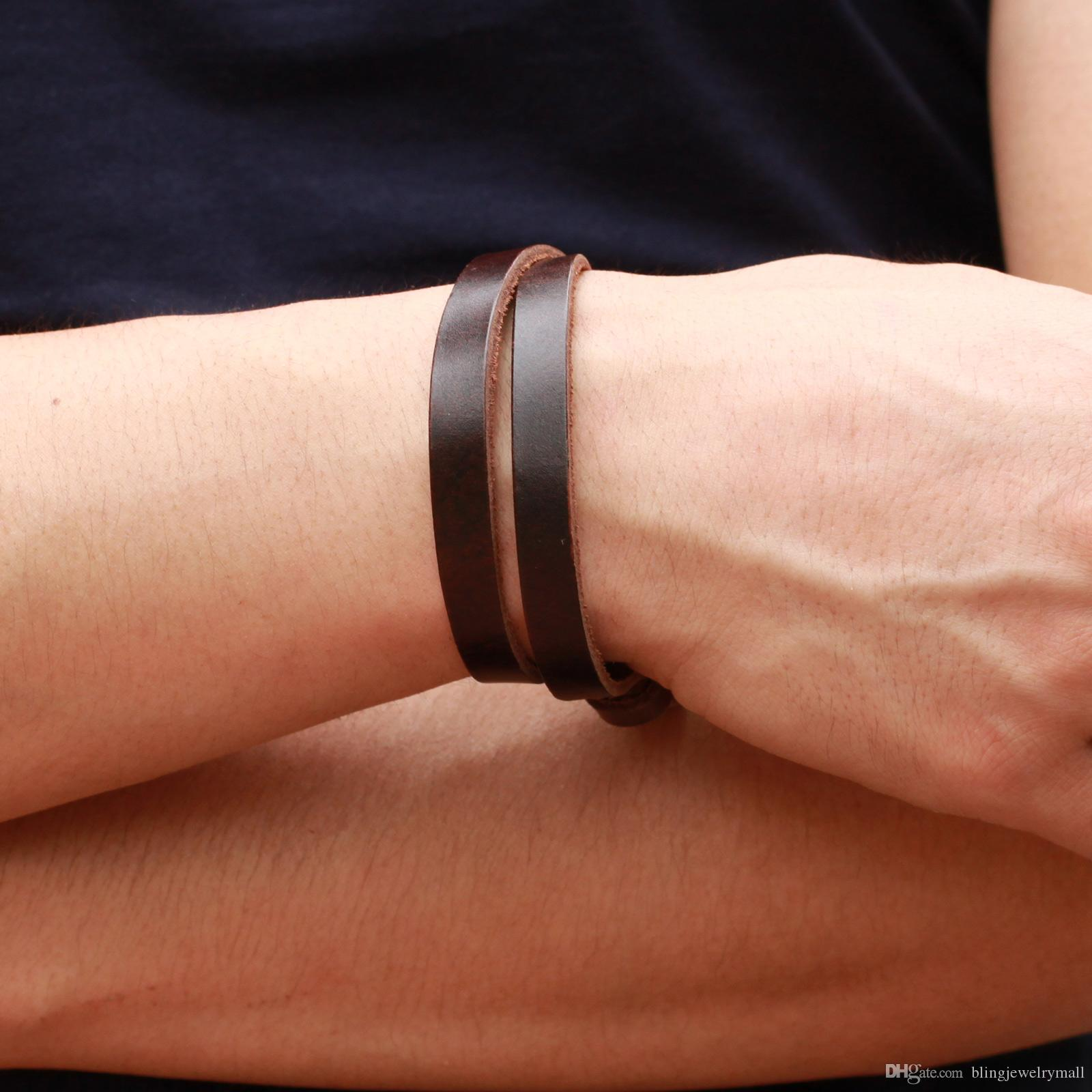 Personalized Handmade Leather + Steel Double Layers Bracelets & Bangles Fashion 45cm Long Attractive Men Jewelry 768