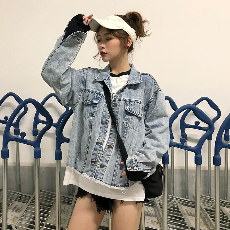 Compre Jeans Coreano Mulheres Jaqueta Casaco Básico Outerwear Casaco Casaco  Jeans Mulher Roupas Femininas Outono 2018 Mulheres Jeans Harajuku De ... 4bd56788705