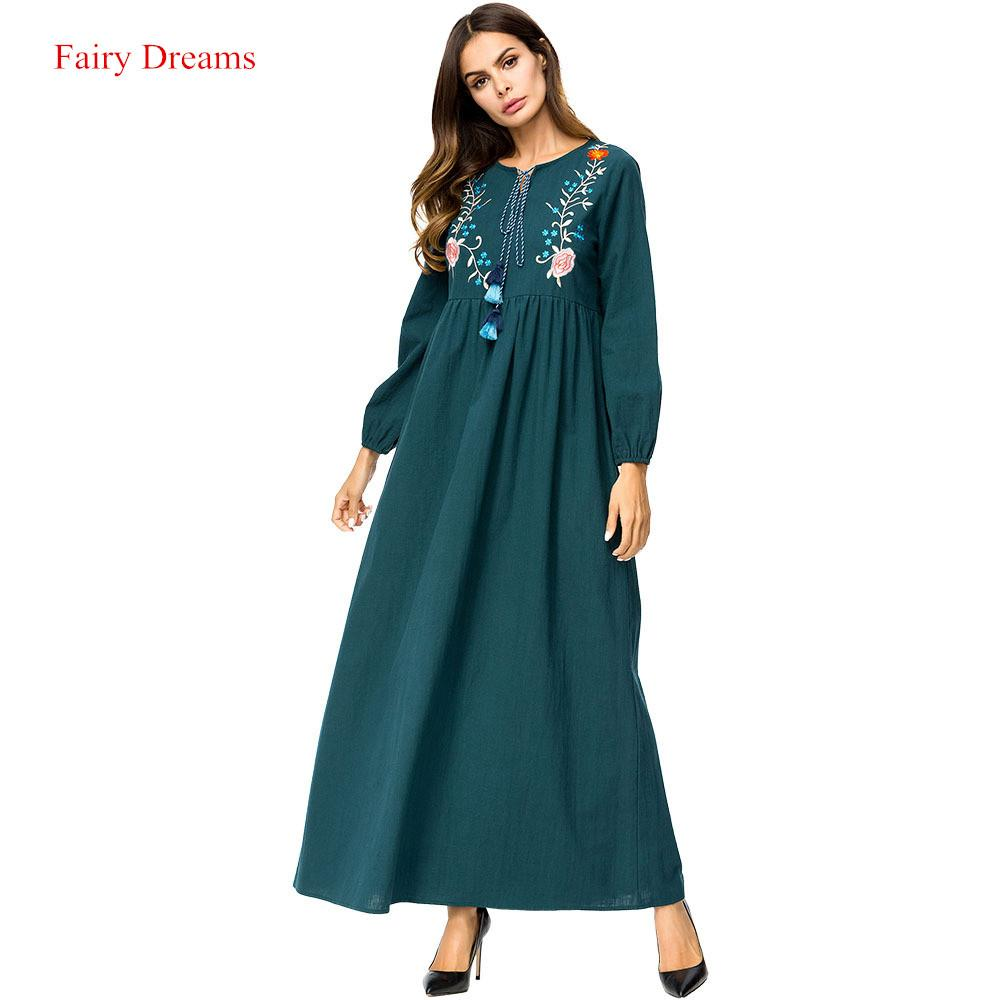 80ed2cd183 Abayas For Women Embroidery Long Sleeve Muslim Maxi Dress Green Arab Dubai  Islamic Clothing Ladies Plus Size Fashion Robe 2018