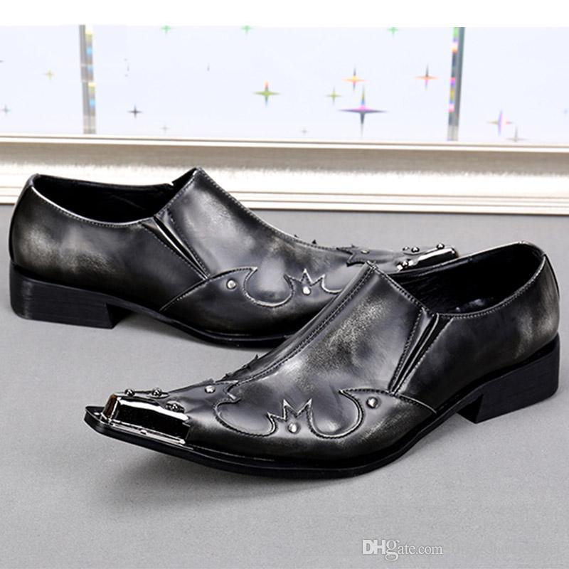 웨스턴 스타일 남자 신발 남자에 대 한 정품 가죽 비즈니스 파티 신발 지적 발가락 검은 회색 남자 결혼식 신발