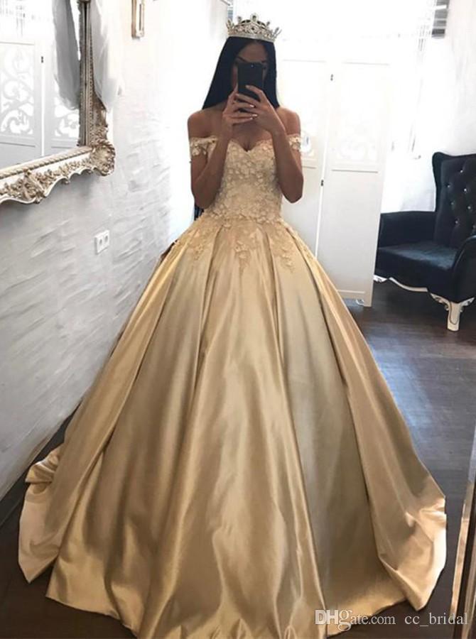 Elegant Evening Formal Dresses 2018 Sweetheart Ball Gown Gold Custom