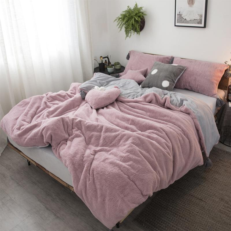 Beau Pink White Gray Princess Comfortable Fleece Fabric Winter Thick Bedding Set  Duvet Cover Bed Skirt Fitted Sheet Pillowcase 4/Denim Bedding Bedroom  Comforters ...