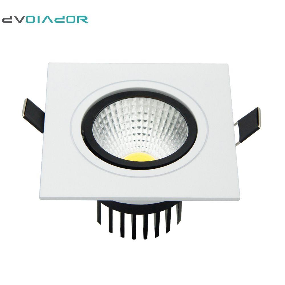 DVOLADOR Cuadrado Brillante Empotrable COB regulable led downlight 7W 9W 12W 15W AC110V-220V led Techo Decoración del hogar Light + driver
