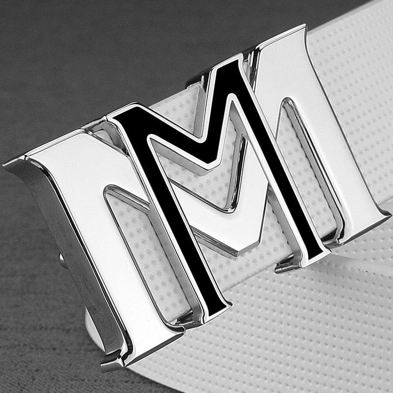 Compre Cinturones De Diseño Para Hombres De Moda Letra M Hebilla De  Cinturones De Cuero De Vaca De Lujo Famosa Marca Correa De Cuero Genuino  Cintura Correa ... e46f3bec3eb5