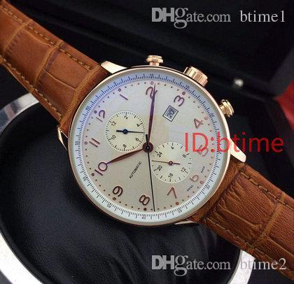 2018 Brown Leather Top luxury brand Fashion Mechanical Mens Stainless Steel Gold Automatic Movement Watch mens Self-wind Watches