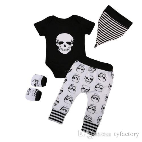 ffcaae8a613d 2019 Fashion Halloween Infant Baby Boys Skull Head Black Short Sleeves  Romper + Long Pants + Hat + Gloves Set Outfits Kid Boy Party Clothes From  Tyfactory