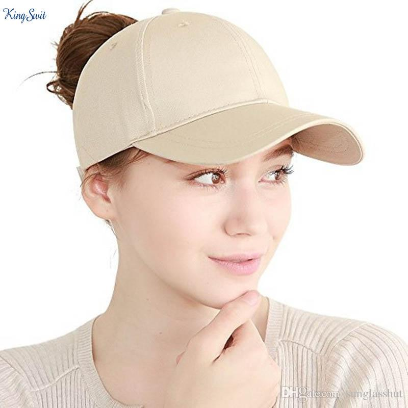 482b368c147 2018 New Baseball Caps For Women With Cotton Ponytail Cap Classic Solid  Color Back Hole Pony Tail Baseball Caps Baseball Hat Ponytail Caps Online  with ...