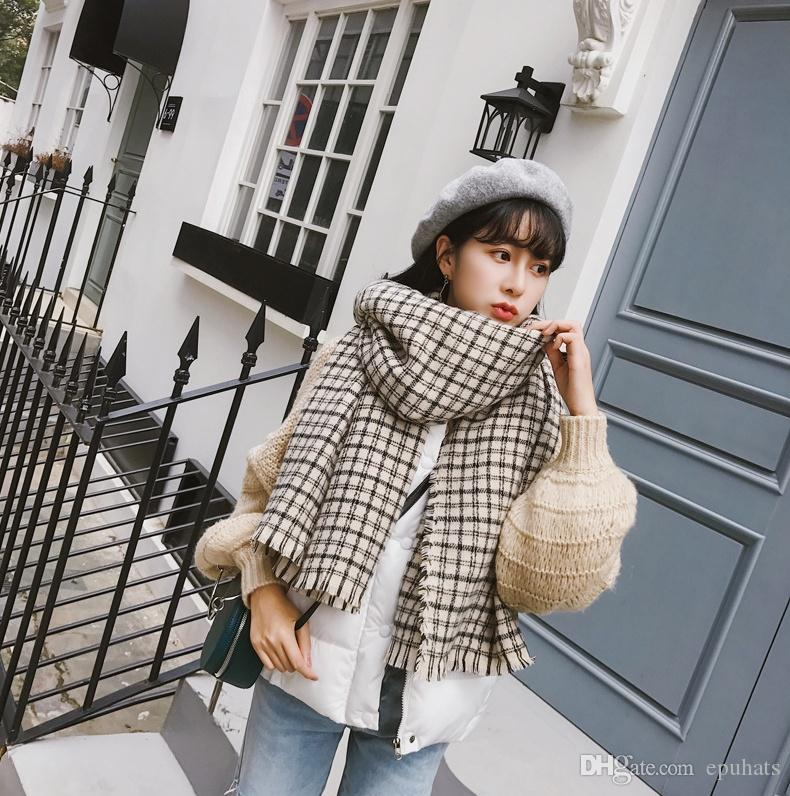 65b9e71ac0b Soft Plaid Tassel Pashmina 2018 New Autumn Winter Wholesale Scarf ...