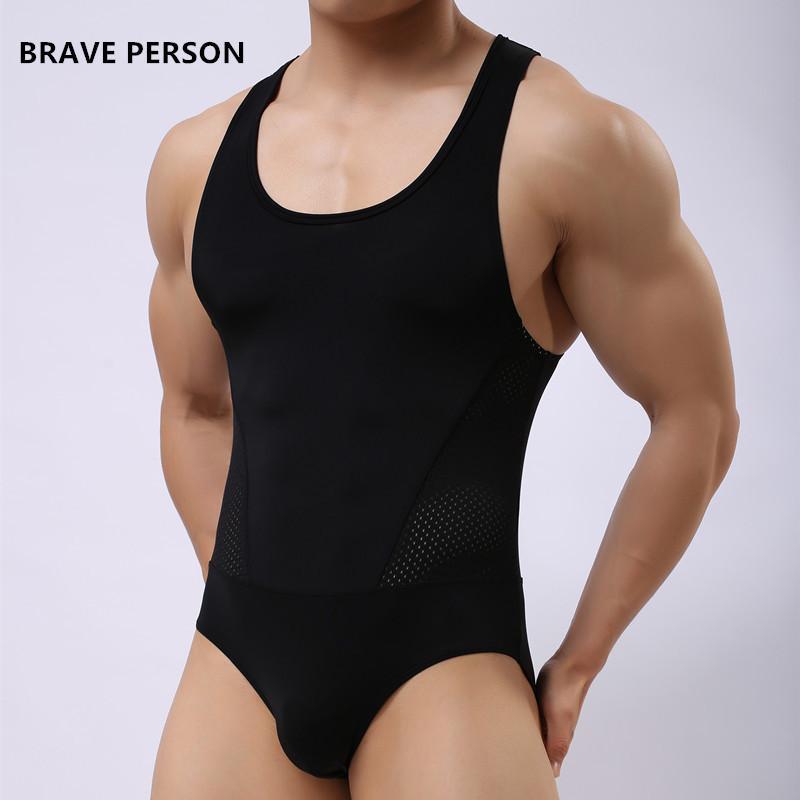 3a3963e6f6818 Wholesale-BRAVE PERSON Brand Mens Undershirt Underwear Spandex Sexy ...