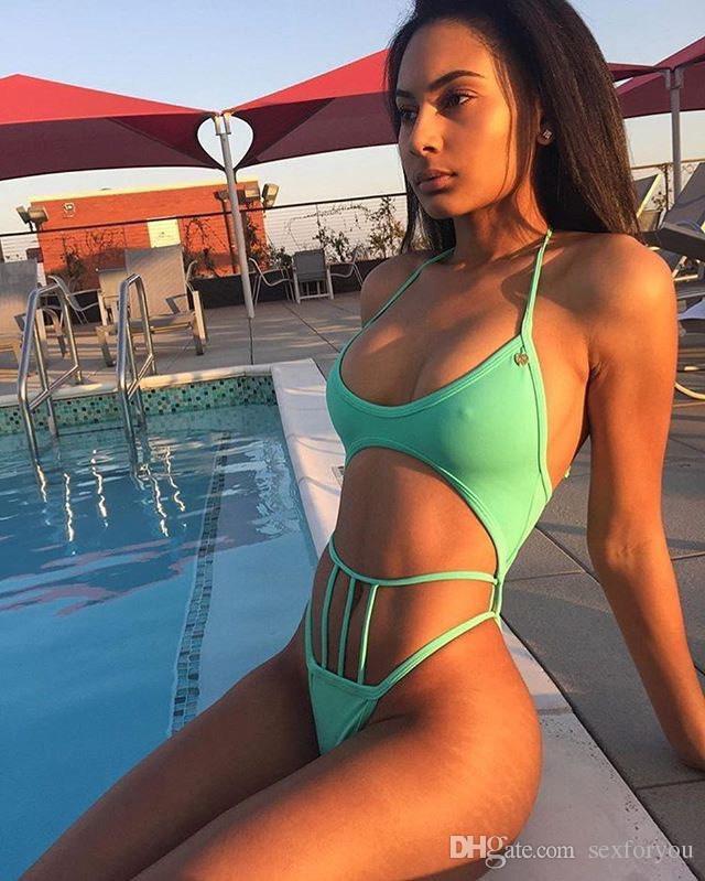 Femmes Bikini solide bandage maillot de bain marque style sexy haute coupe monokini bandage lanière wimwear évider maillot de bain
