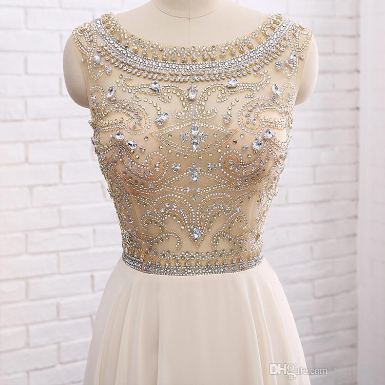 2019 New High-end Heavy Handmade Evening Dresses Handmade Beaded Chiffon Beige T-shirt Shoulder Prom Party Dresses HY107