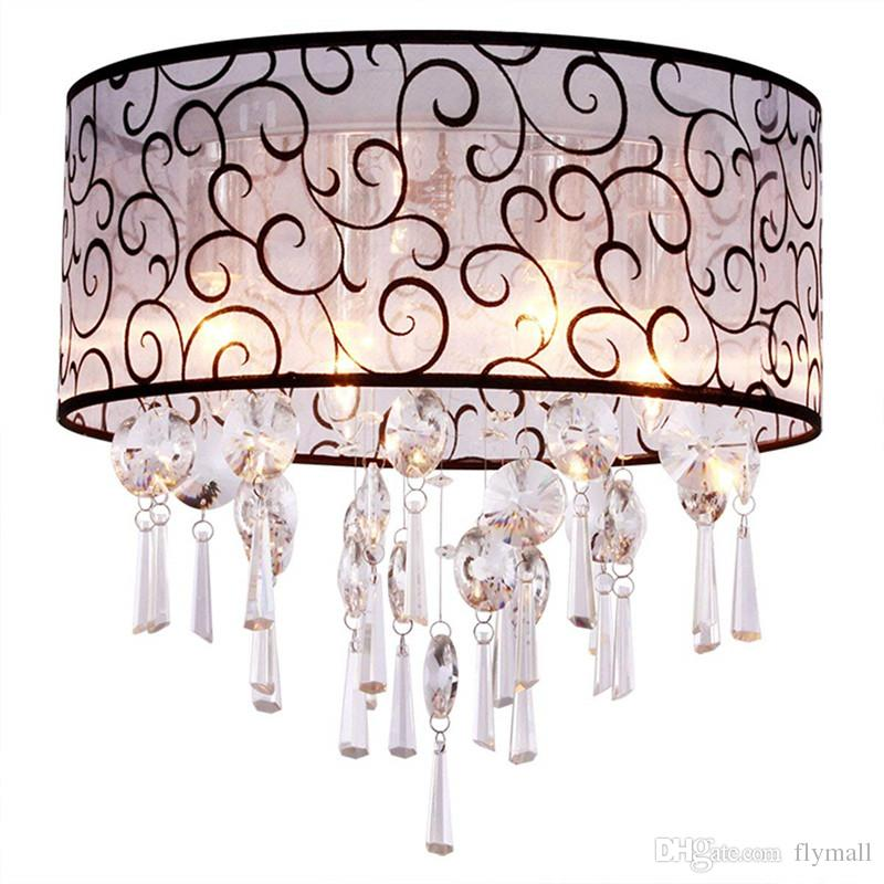 2018 Luxury Drum Cloud 4 Lights Flush Mounted Fabric Crystal Ceiling ...