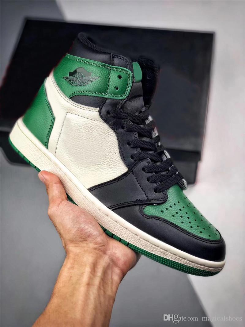 57a73ebfa098 2018 New Release 1 High OG Pine Green Court Purple Man Basketball Shoes  Authentic Quality Sneakers Sports With Original Box 555088 302 Latest Shoes  Shoes ...