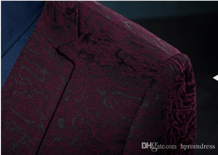 Gentleman Style Men Prom Suit Red Groom Wedding Suits Slim Fit Dress Groom Tuxedos Business Formal Suit