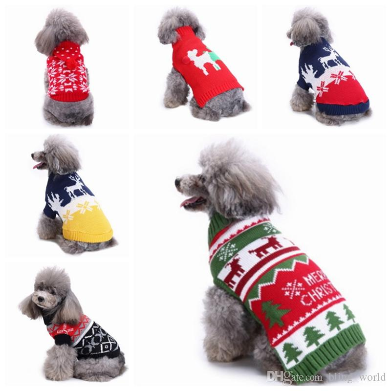 01f5d85e7 2019 Christmas Dog Sweaters Knitted Puppy Sweatshirts Snowflake ...