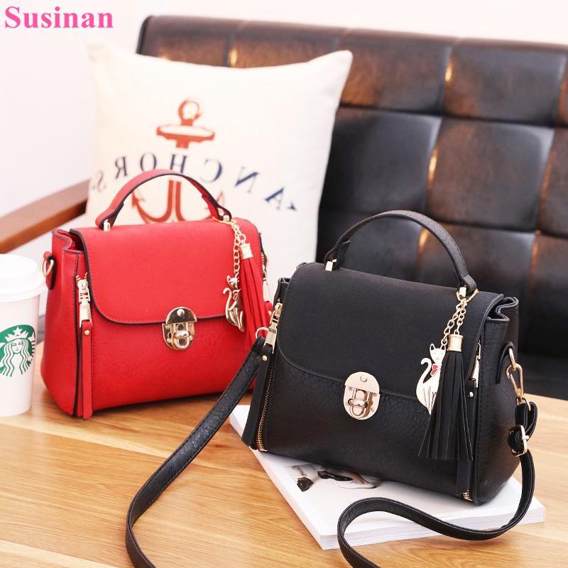 8b643421f36 Fashion women s Crossbody bags red black leather flap handbag 2018 luxury  ladies shoulder Messenger bag designer tassel bolso 6z