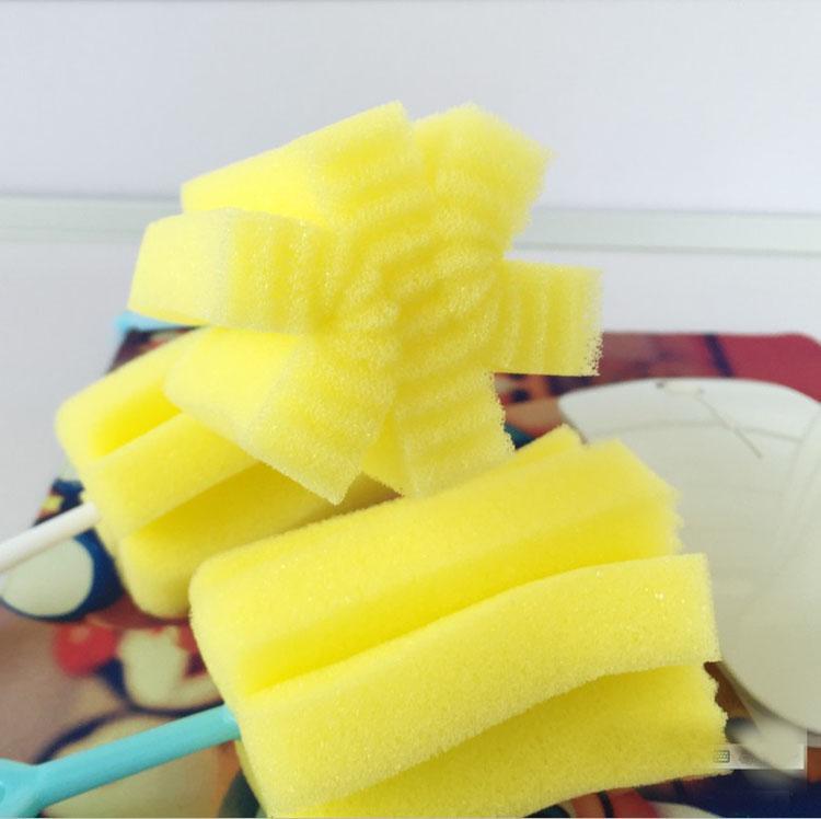 22cm * 7cm Durable Long Handle Sponge Cleaning Brush Cup Bottle Bottom Scrubber Kitchen Cleaner Tool for Tea Glass Color Random