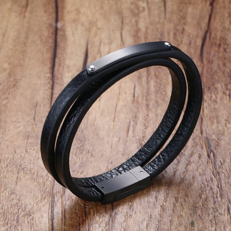 77c92869cbdff Stunning Mens Genuine Leather Double Wrap Around Bracelets Stainless Steel  ID Tag For Men Women Punk Bangle Wristband Jewelry Y1891709 Mens Bracelets  Silver ...