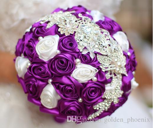 Düğün Gelin Buketi DIY Broş Inci Tel Gül Gelin Buketi