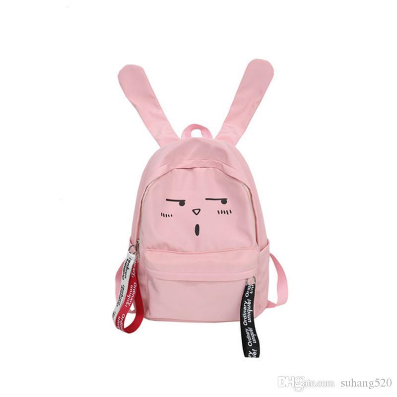 8a86f8cc12a1 Famous Design Cute Rabbit Zipper Opening Backpack Preppy College ...