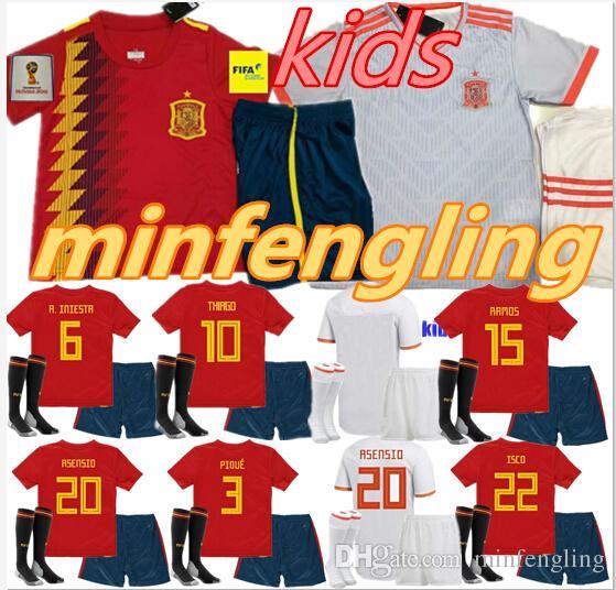 Thailand KIDS Spain Soccer Jerseys 2018 World Cup Football Kids Uniform  with Socks Camisetas De Futbol MORATA ASENSIO ISCO SILVA RAMOS AAA. 5d9769b874654