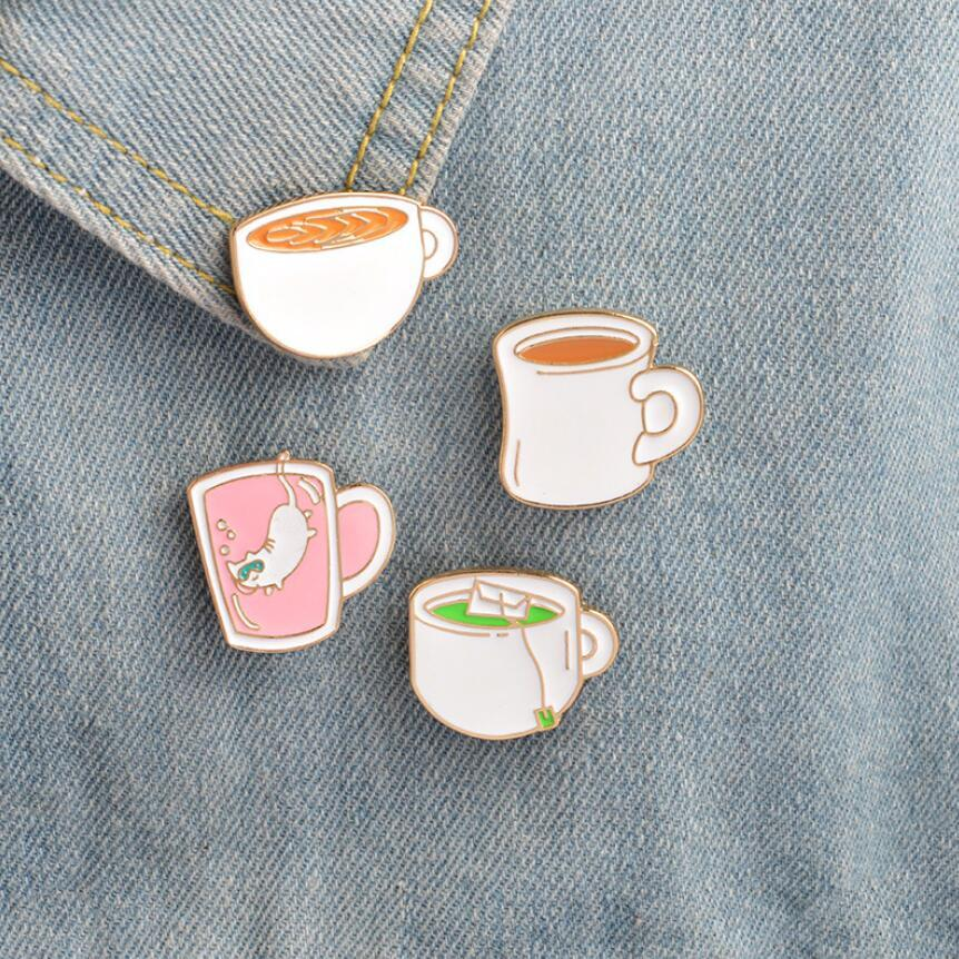 Oly2u New Arrival Green Tea Pins Coffe Brooches Jeans Bag Decoration Accessories Lapel Badge BP091-92