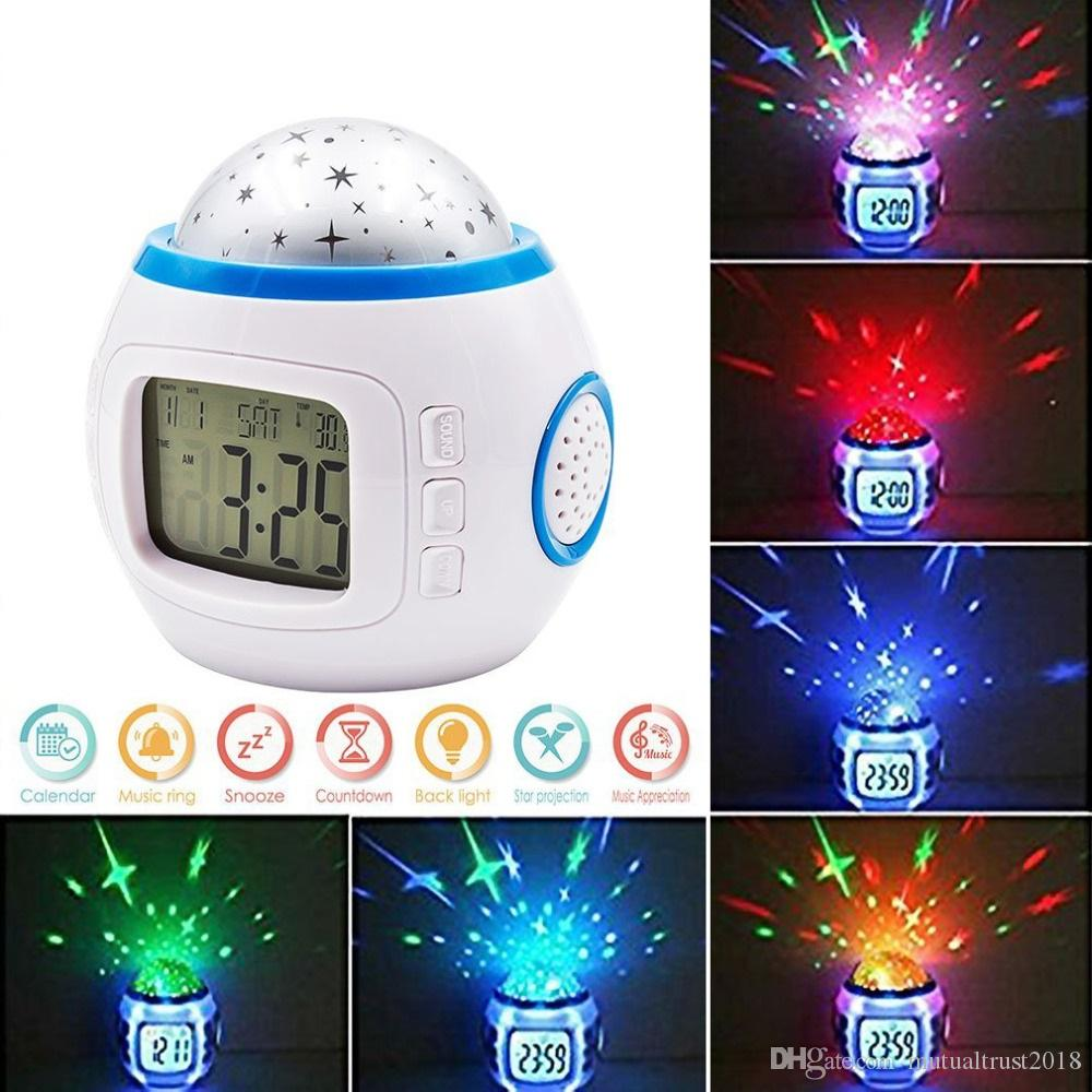 Alarm Clocks Lovely Romantic Music Starry Star Sky Digital Led Projection Projector Alarm Clock Calendar Thermometer With Snooze Function Moderate Price Home & Garden