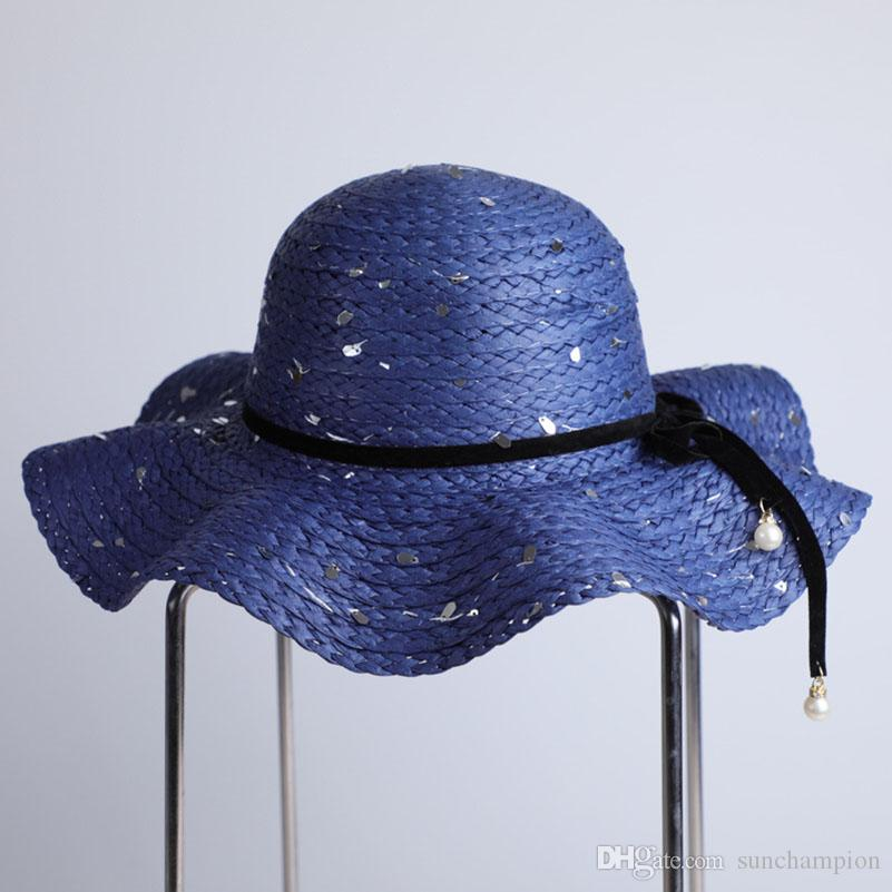 Blue Sequined Lady Wide Brim Hats For Outdoor Journy Multi Color Large  Floppy Hats Foldable Straw Hat Beach Hat Sunscreen Caps Baby Sun Hat Summer  Hats For ... bb5ce614701