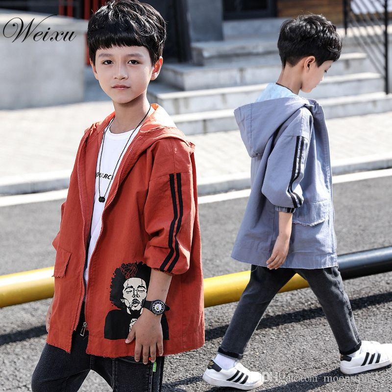 20bd0d0ee Toddler Boy Jackets Coats Spring Autumn Hooded Printed Windbreaker ...