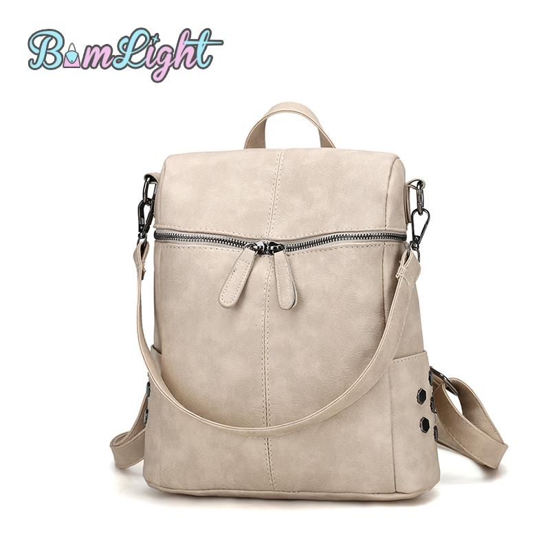 5b66945468ba Bomlight Fashion Vintage Solid Shoulder Bag Simple Style Backpack Women PU  Leather Backpacks For Teenage Girls School Bags Rucksacks Bookbags From  Bidashoes ...