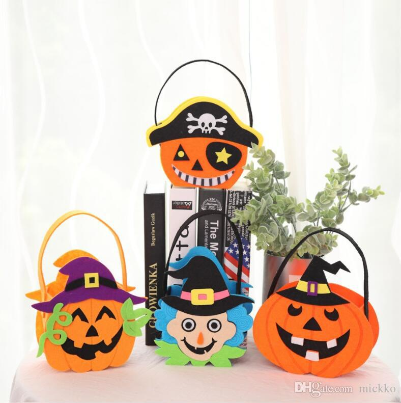 Children Halloween Party Hand Pumpkin Candy Bags Kids Party Witch Pumpkin  Pirate Non Woven Fabric Gift Bags Halloween Party Decorations 1st Birthday  ...