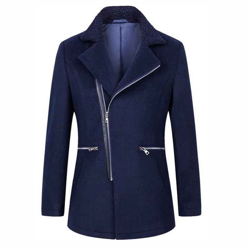 Windbreaker Kleidung Herren Mantel Casual Wollmischung Marineblau Jacken Slim Mode Trenchcoat 54R3ALj