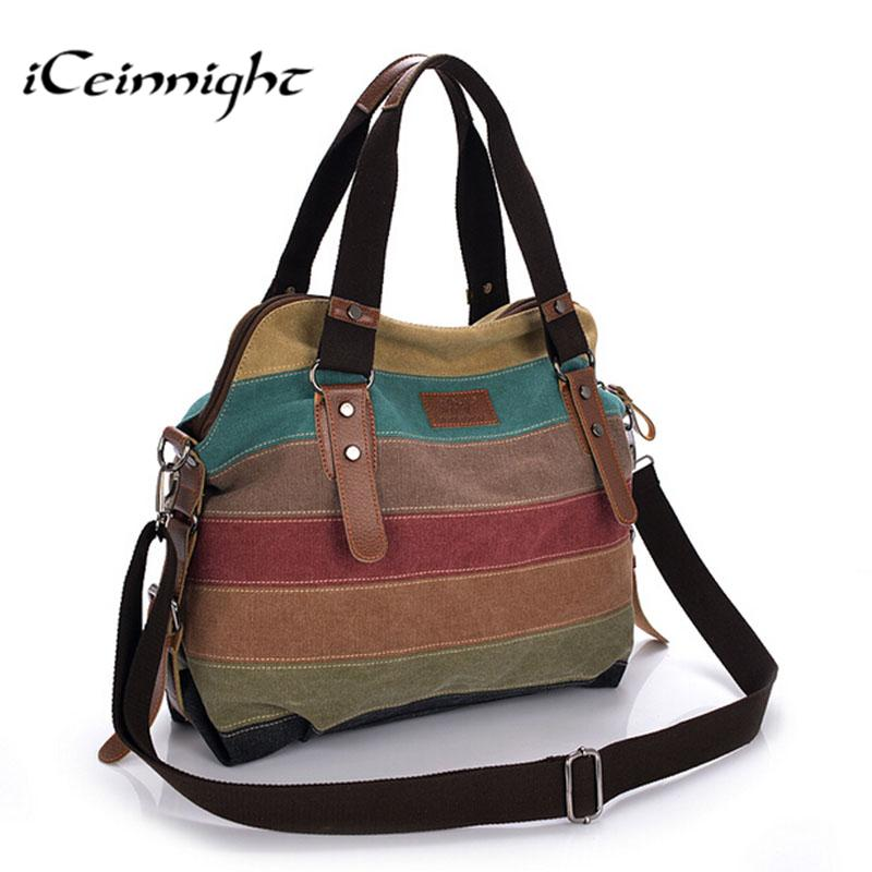 49245f52e0c Iceinnight Canvas Striped Women Messenger Bags High Quality Casual Tote Big  Handbag School Shoulder Bag With Long Belt Bolsas