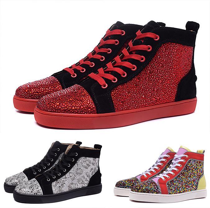 Acheter Nouveau Strass Swarovski Suede Sneaker Hi Top Chaussures Plates  Chaussures De Sport De Haute Qualité Velours Chaussures En Cuir Haut De  Gamme Pour ... 047122f3c542