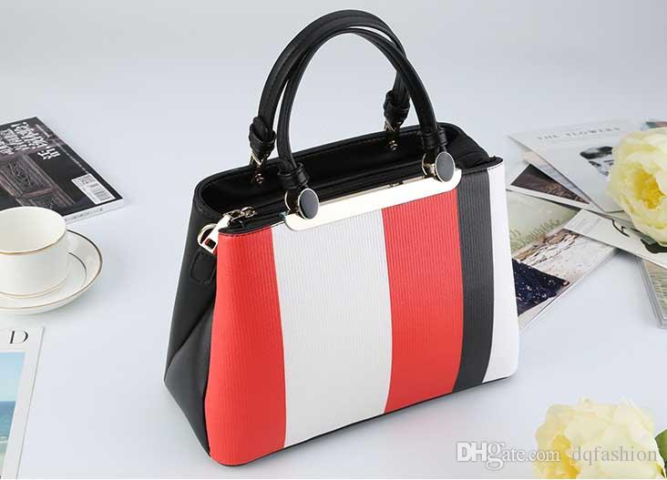 Women's Color Matching Handbags Fashion Wild Large Capacity Package 2018 High Quality Personality Shoulder Diagonal Handbag