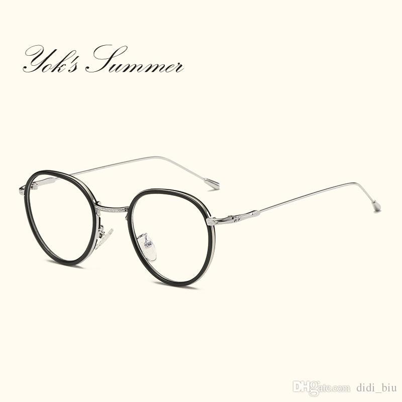 c111b58caa Yok s Summer Small Round Clear Lens Eyeglass Frame Retro Thin Metal ...