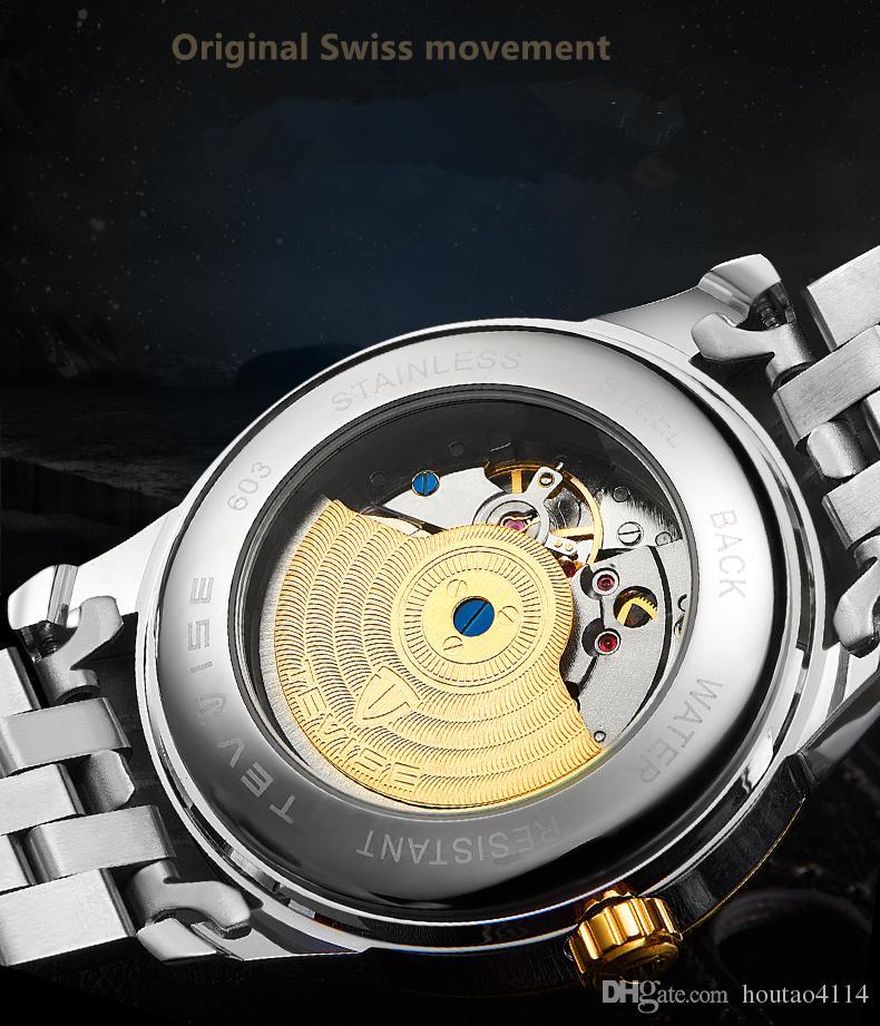 2018 yüksek kaliteli mekanik saatler, su geçirmez otomatik mekanik takvim çelik izle, erkek high-end izle marka iş rahat Izle