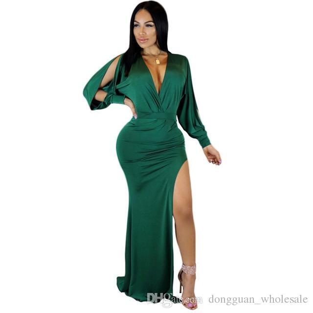 ff7ec8da4 Compre Las Mujeres Populares De Moda Vestido De Verano Con Cuello En V  Manga Completa Bodycon Noche Vestido Sexy Cut Out Maxi Dress LM1013 A   17.19 Del ...