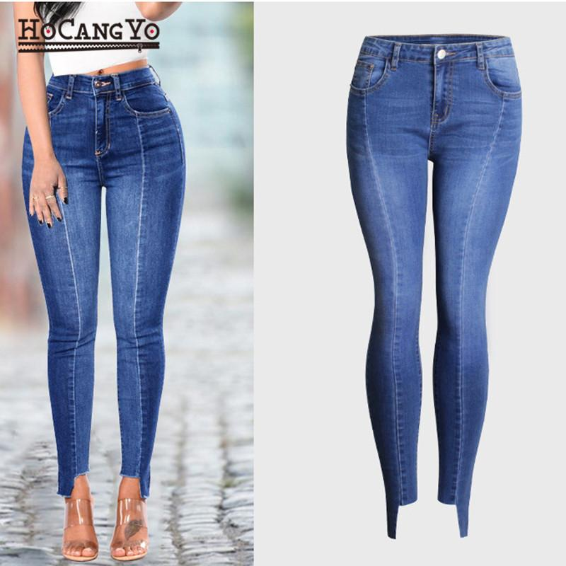 83d13ff6b5c 2019 HCYO Women Skinny Jeans Plus Size 4XL Stretch Bleached Cropped Mid  Waist Jeans Trousers Women Cotton Denim Pants From Beenling