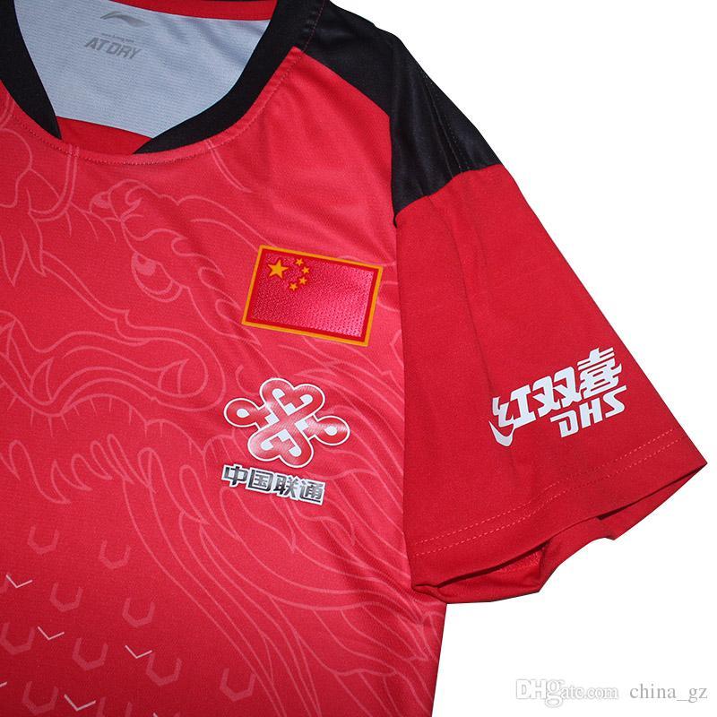 2018 Li-Ning China Tischtennis-Shirt Herren, Ma Long Jerseys Pingpong-T-Shirt, Tischtennis Teamkleidung 6031A