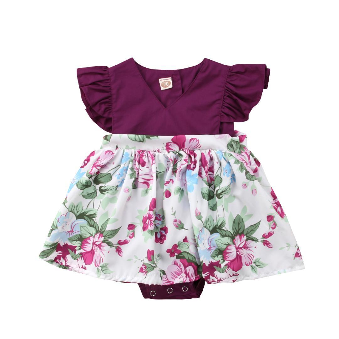 befcee6b2bd7 Newborn Toddle Baby Girls Flower Bodysuit Dress Ruffle Sleeve ...