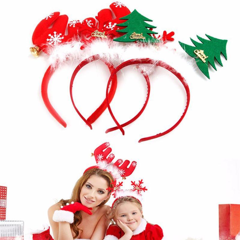 3605a61dc Moda de Navidad Banda para la cabeza Lindo de Navidad de Santa Diadema  Corchete Aro Sombrero Prop Fiesta Decoración Mujeres Chica Niños Headwear  P25
