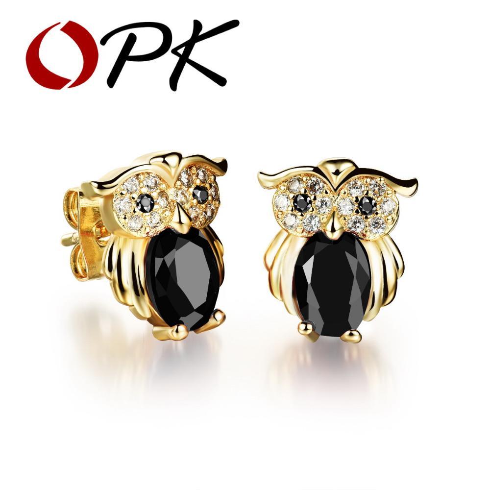 OPK Owl Design Woman Stud Earrings Vintage Gold Color Red/ Black/ White Cubic Zirconia Women Jewelry Earring KE637