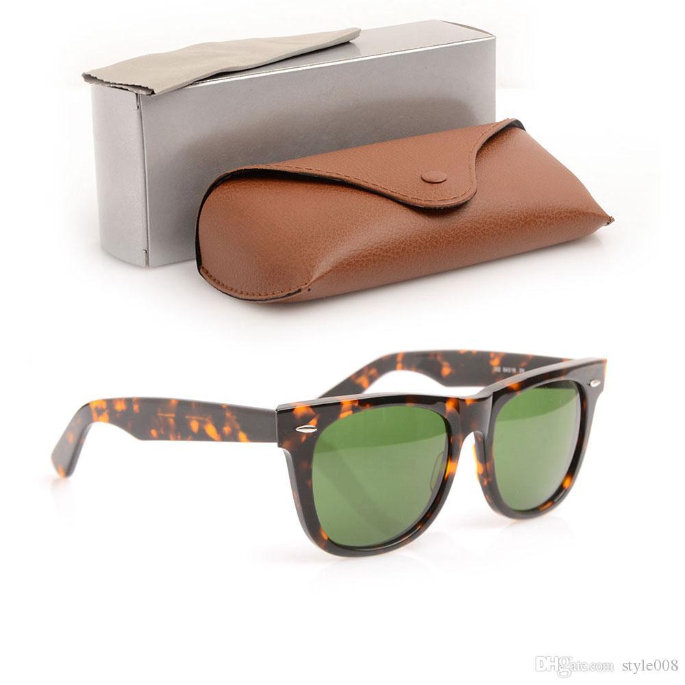 High Quality Plank Sun glasses Tortoise Frame Green Lens Metal hinge Sunglasses Men Women Sunglasses unisex Sun glasses Glass Lens With Boxs