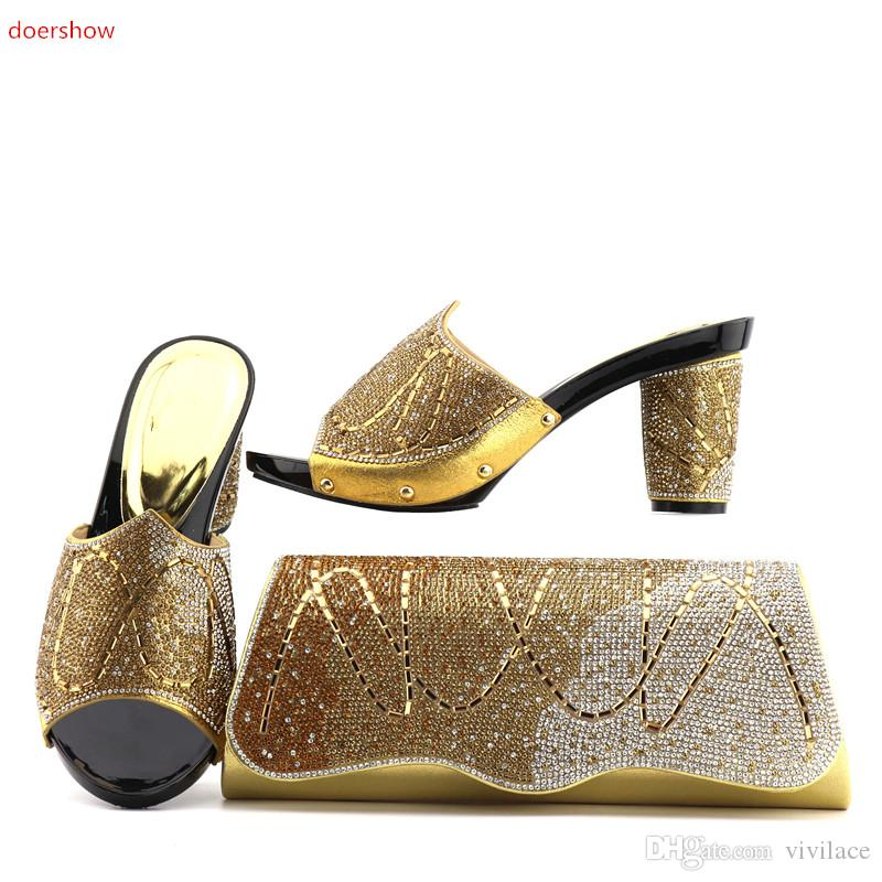 vivilace Shoe and Bag Set Decorated with Rhinestone African Women Matching Italian Shoe and Bag Set for Wedding !ZQ1-4