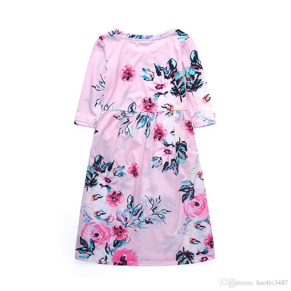 2018 Girls Dresses Autumn Cute Baby Girls Hit Color Long-Sleeve Dress Children clothes Casual Cotton Beachwear Maxi Dress fit 2-11Y