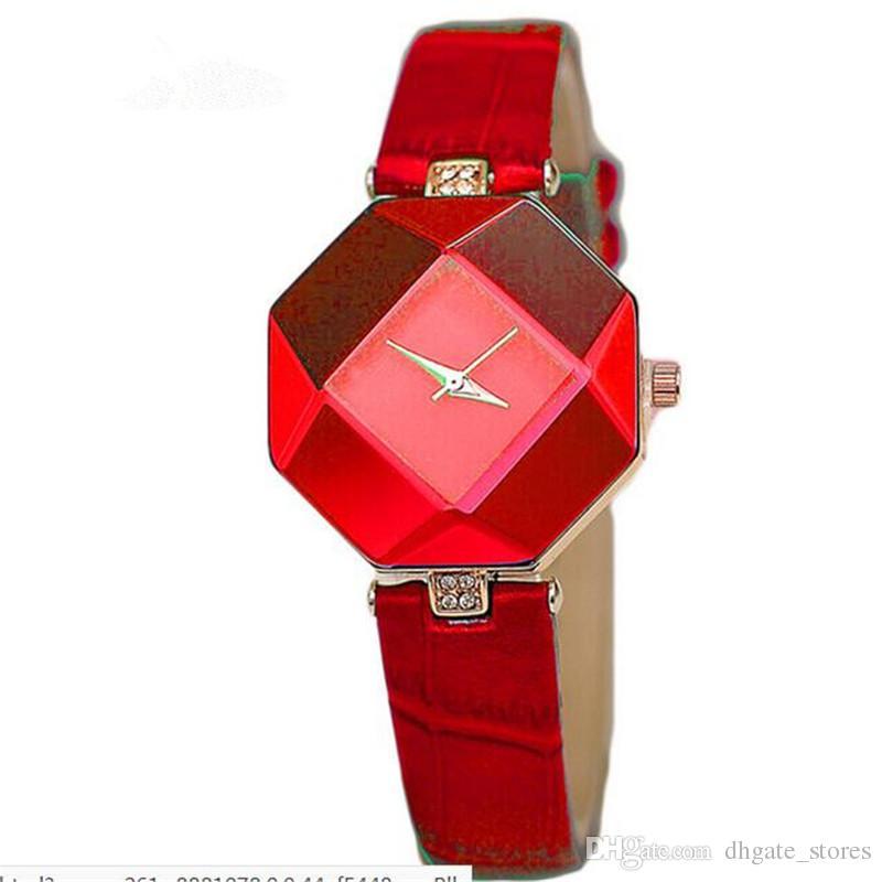 Moda Elmas Izle kızın Kol Saati Rhombus Bilek Saatler Timsah tahıl Kayış Kemer Saatı Çevrimiçi SıCAK Drop Shipping