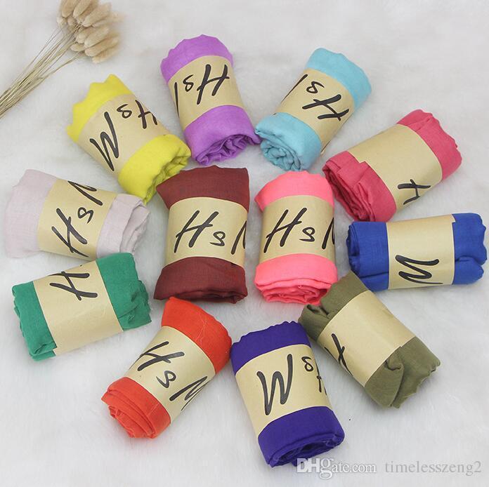 42 개 색상 봄 여름 패션 솔리드 레이디 스카프 자외선 차단 코튼 및 리넨 캔디 컬러 스카프