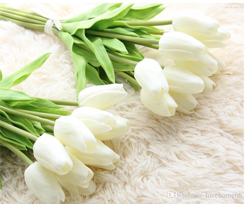 2019 Wholesale Artificial Flowers Tulip 32cm Length White Purple